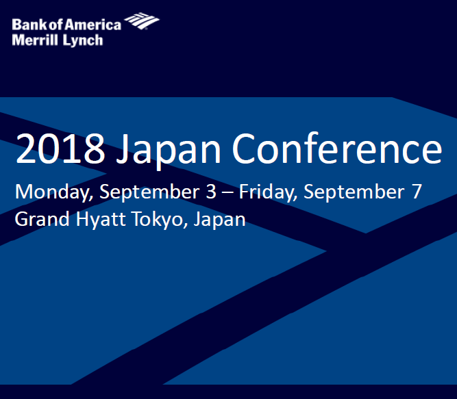 Toshi Oguchi to speak at Bank of America Merrill Lynch 2018 Japan Conference